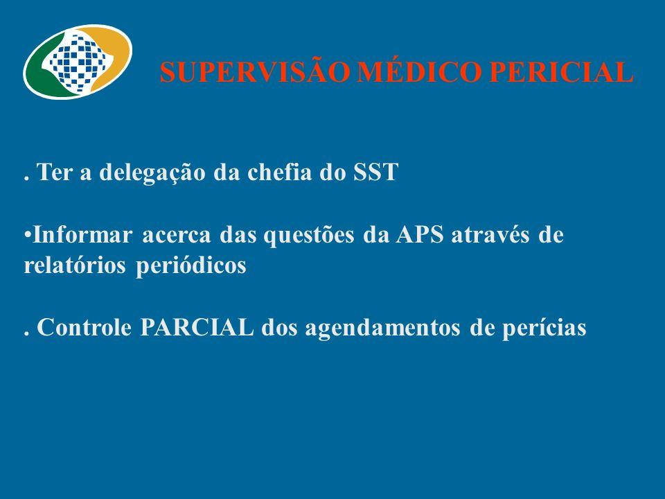 SUPERVISÃO MÉDICO PERICIAL. Ter a delegação da chefia do SST Informar acerca das questões da APS através de relatórios periódicos. Controle PARCIAL do