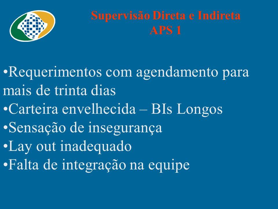 Supervisão Direta e Indireta APS 1 Requerimentos com agendamento para mais de trinta dias Carteira envelhecida – BIs Longos Sensação de insegurança La