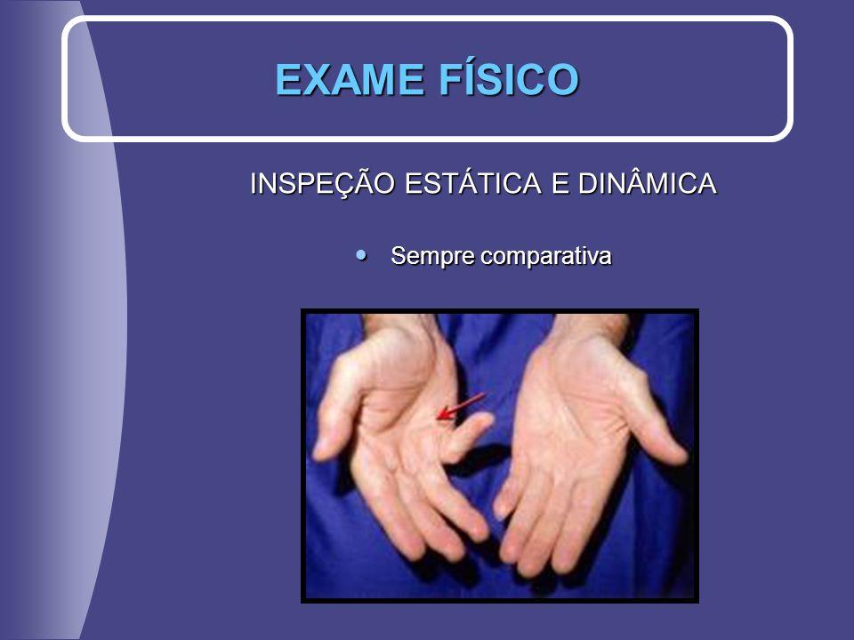 INSPEÇÃO ESTÁTICA E DINÂMICA Sempre comparativa Sempre comparativa EXAME FÍSICO