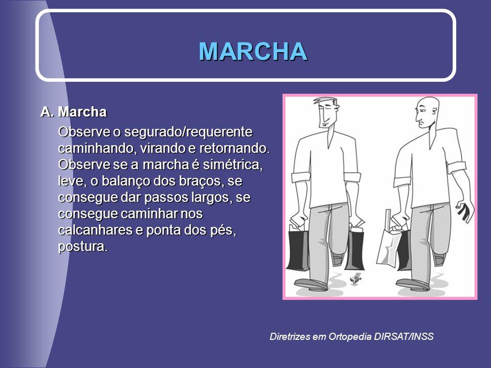 A. Marcha Observe o segurado/requerente caminhando, virando e retornando. Observe se a marcha é simétrica, leve, o balanço dos braços, se consegue dar