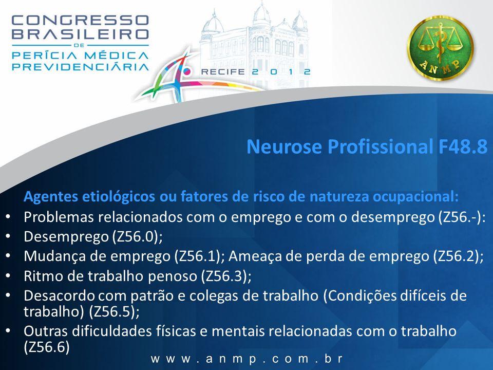 Neurose Profissional F48.8 Agentes etiológicos ou fatores de risco de natureza ocupacional: Problemas relacionados com o emprego e com o desemprego (Z