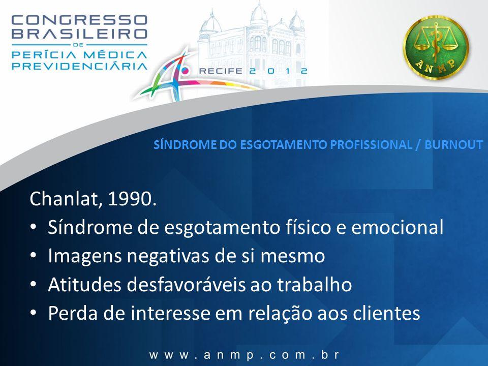 SÍNDROME DO ESGOTAMENTO PROFISSIONAL / BURNOUT Chanlat, 1990. Síndrome de esgotamento físico e emocional Imagens negativas de si mesmo Atitudes desfav