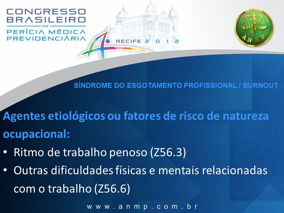 Agentes etiológicos ou fatores de risco de natureza ocupacional: Ritmo de trabalho penoso (Z56.3) Outras dificuldades físicas e mentais relacionadas c