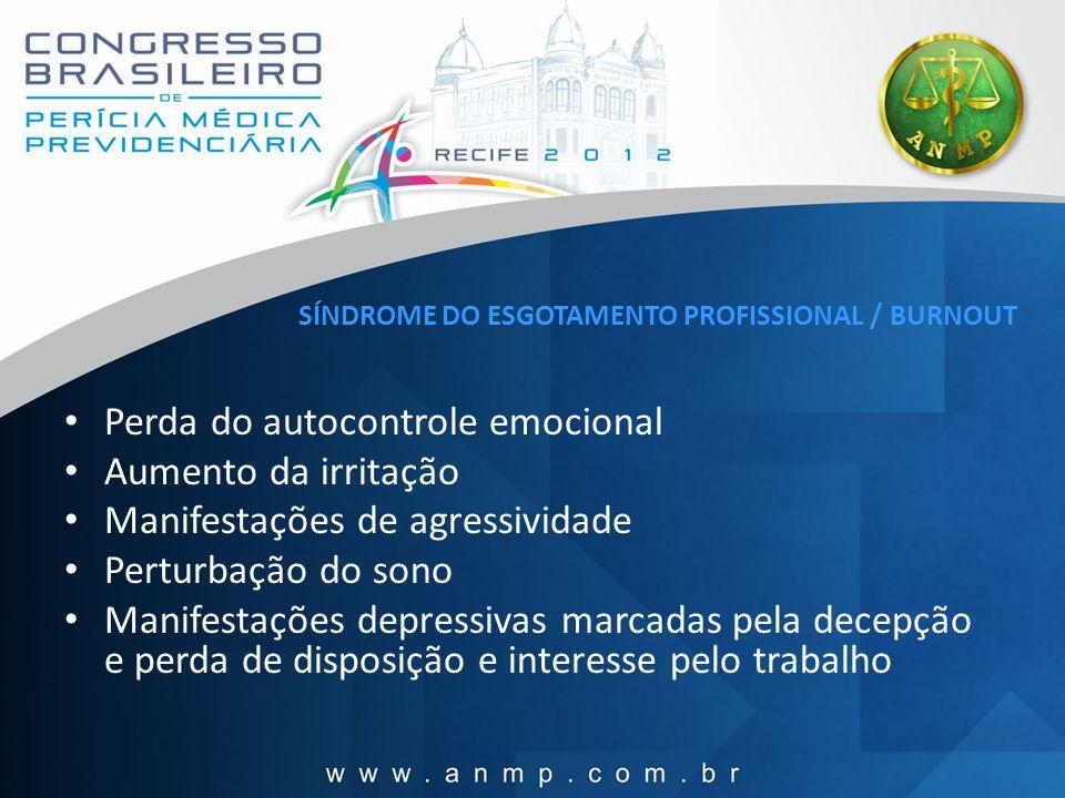 SÍNDROME DO ESGOTAMENTO PROFISSIONAL / BURNOUT Perda do autocontrole emocional Aumento da irritação Manifestações de agressividade Perturbação do sono