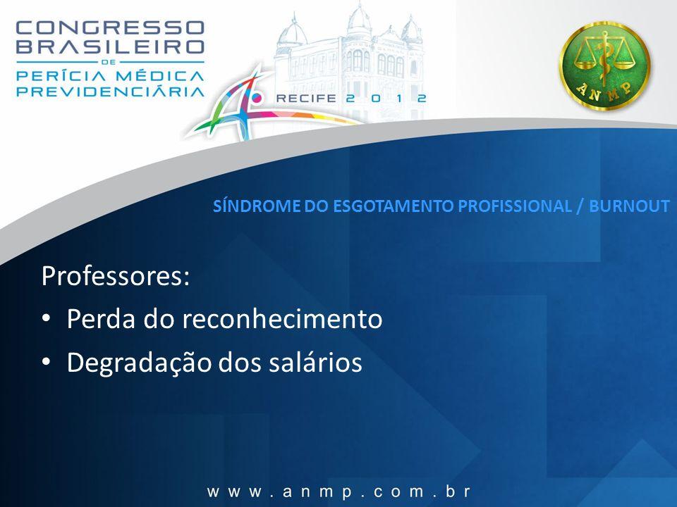 SÍNDROME DO ESGOTAMENTO PROFISSIONAL / BURNOUT Professores: Perda do reconhecimento Degradação dos salários