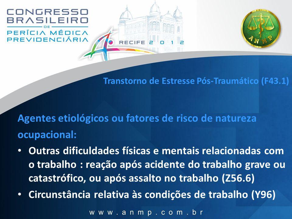 Transtorno de Estresse Pós-Traumático (F43.1) Agentes etiológicos ou fatores de risco de natureza ocupacional: Outras dificuldades físicas e mentais r