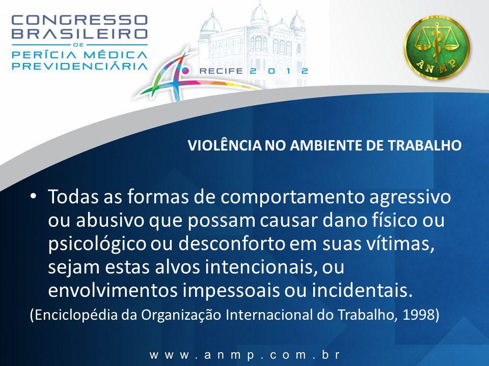 VIOLÊNCIA NO AMBIENTE DE TRABALHO Todas as formas de comportamento agressivo ou abusivo que possam causar dano físico ou psicológico ou desconforto em