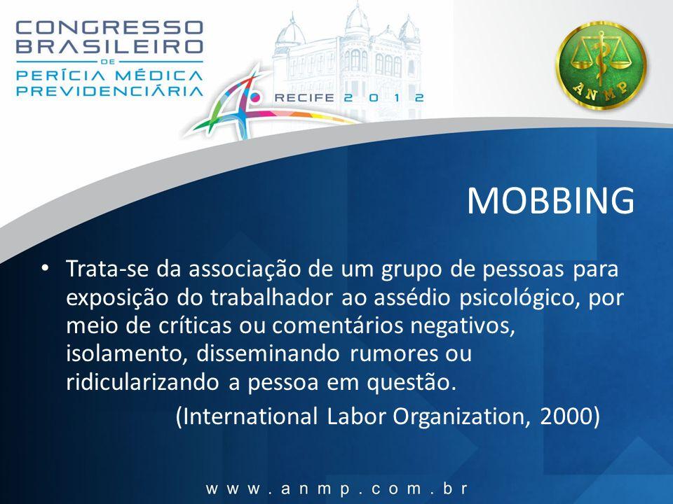 MOBBING Trata-se da associação de um grupo de pessoas para exposição do trabalhador ao assédio psicológico, por meio de críticas ou comentários negati