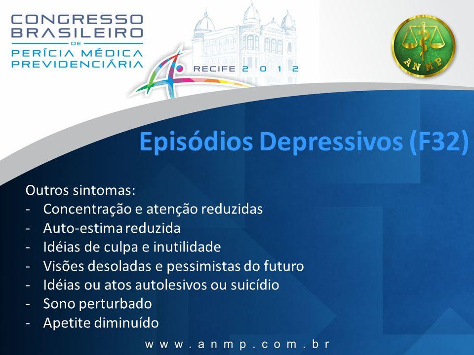 Episódios Depressivos (F32) Outros sintomas: -Concentração e atenção reduzidas -Auto-estima reduzida -Idéias de culpa e inutilidade -Visões desoladas