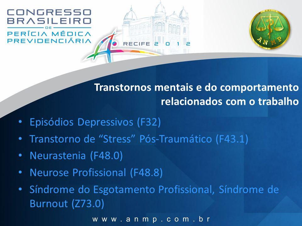 Transtornos mentais e do comportamento relacionados com o trabalho Episódios Depressivos (F32) Transtorno de Stress Pós-Traumático (F43.1) Neurastenia