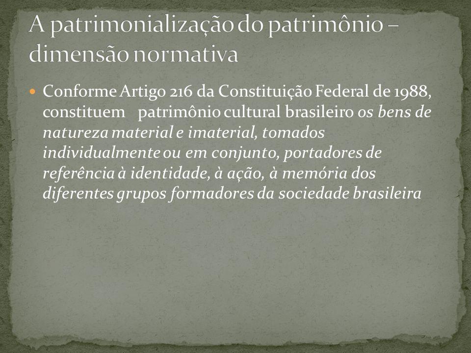 Conforme Artigo 216 da Constituição Federal de 1988, constituem patrimônio cultural brasileiro os bens de natureza material e imaterial, tomados indiv