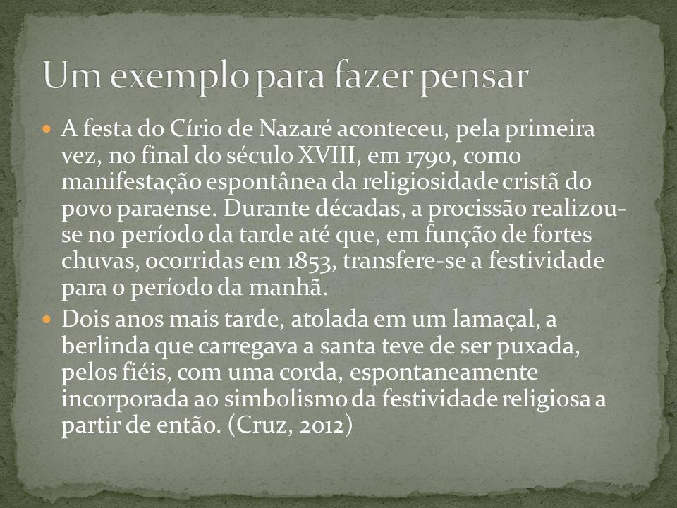 A festa do Círio de Nazaré aconteceu, pela primeira vez, no final do século XVIII, em 1790, como manifestação espontânea da religiosidade cristã do po
