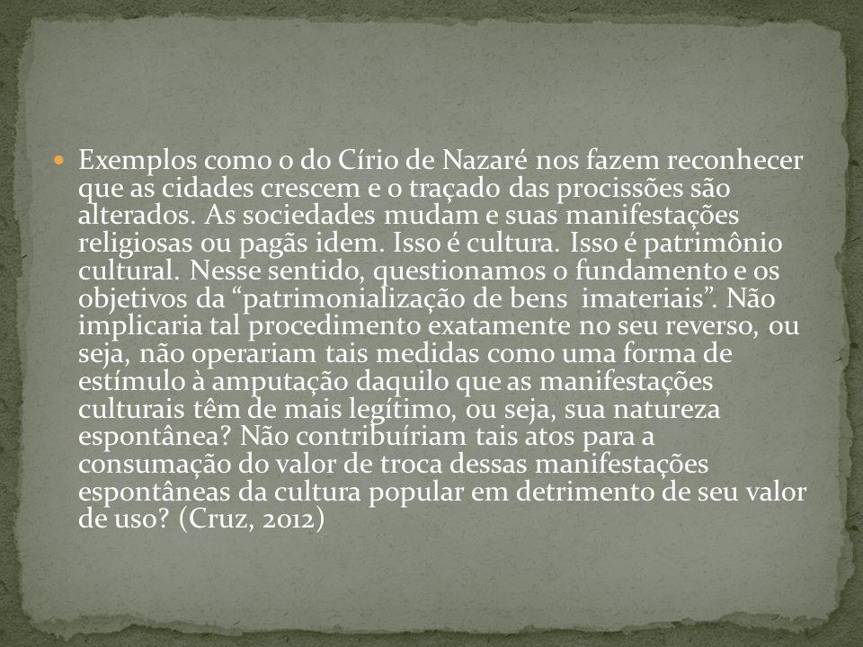 Exemplos como o do Círio de Nazaré nos fazem reconhecer que as cidades crescem e o traçado das procissões são alterados. As sociedades mudam e suas ma