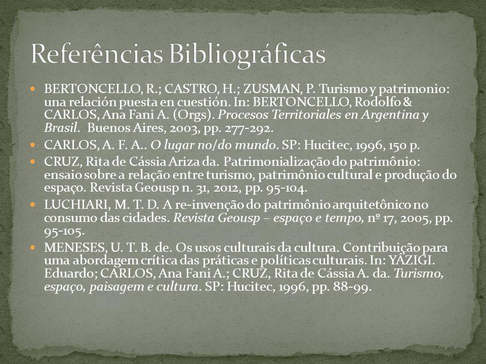 BERTONCELLO, R.; CASTRO, H.; ZUSMAN, P. Turismo y patrimonio: una relación puesta en cuestión. In: BERTONCELLO, Rodolfo & CARLOS, Ana Fani A. (Orgs).