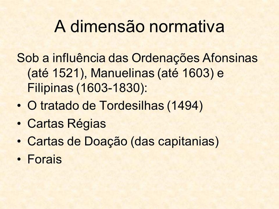 A dimensão normativa Sob a influência das Ordenações Afonsinas (até 1521), Manuelinas (até 1603) e Filipinas (1603-1830): O tratado de Tordesilhas (14