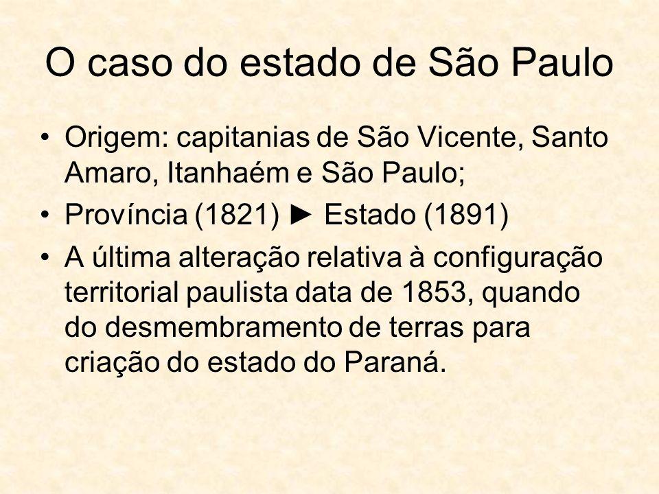 O caso do estado de São Paulo Origem: capitanias de São Vicente, Santo Amaro, Itanhaém e São Paulo; Província (1821) Estado (1891) A última alteração