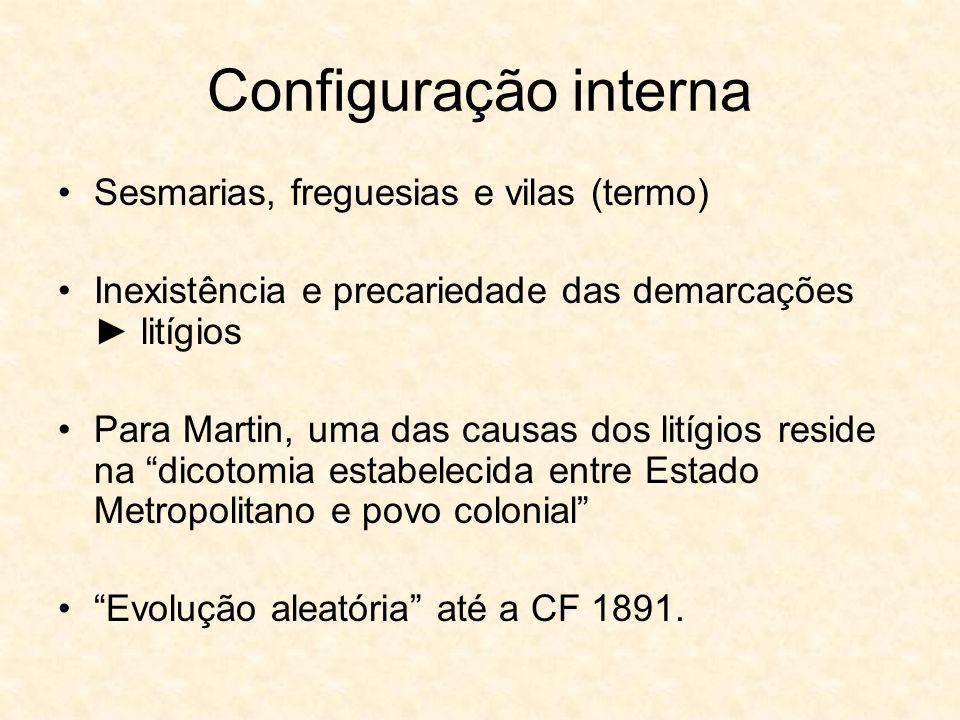 Configuração interna Sesmarias, freguesias e vilas (termo) Inexistência e precariedade das demarcações litígios Para Martin, uma das causas dos litígi