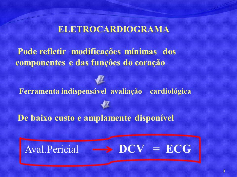 ELETROCARDIOGRAMA Pode refletir modificações mínimas dos componentes e das funções do coração De baixo custo e amplamente disponível Ferramenta indisp