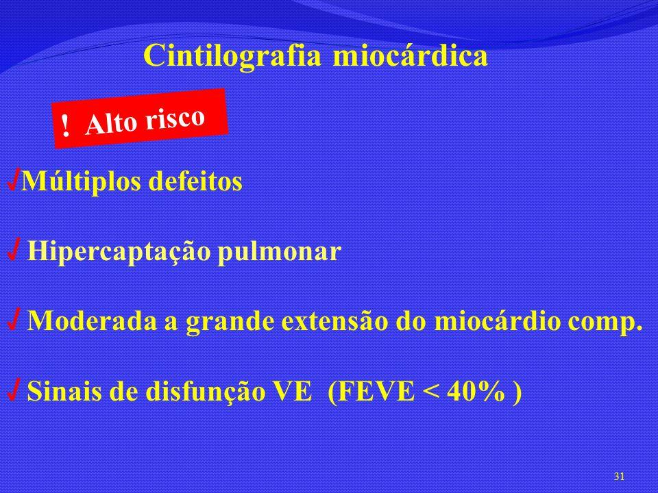 31 Múltiplos defeitos Hipercaptação pulmonar Moderada a grande extensão do miocárdio comp. Sinais de disfunção VE (FEVE < 40% ) Cintilografia miocárdi