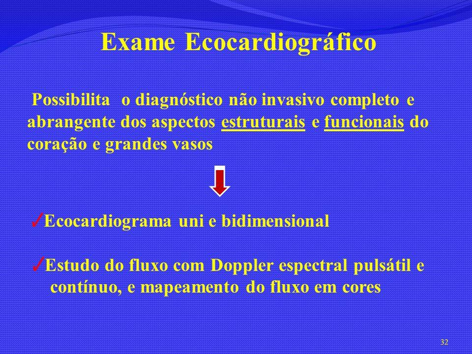 Exame Ecocardiográfico Possibilita o diagnóstico não invasivo completo e abrangente dos aspectos estruturais e funcionais do coração e grandes vasos E