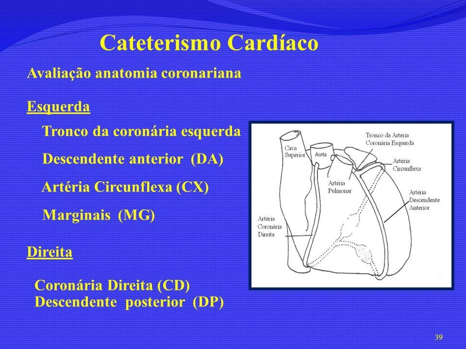 39 Cateterismo Cardíaco Avaliação anatomia coronariana Esquerda Tronco da coronária esquerda Descendente anterior (DA) Artéria Circunflexa (CX) Margin