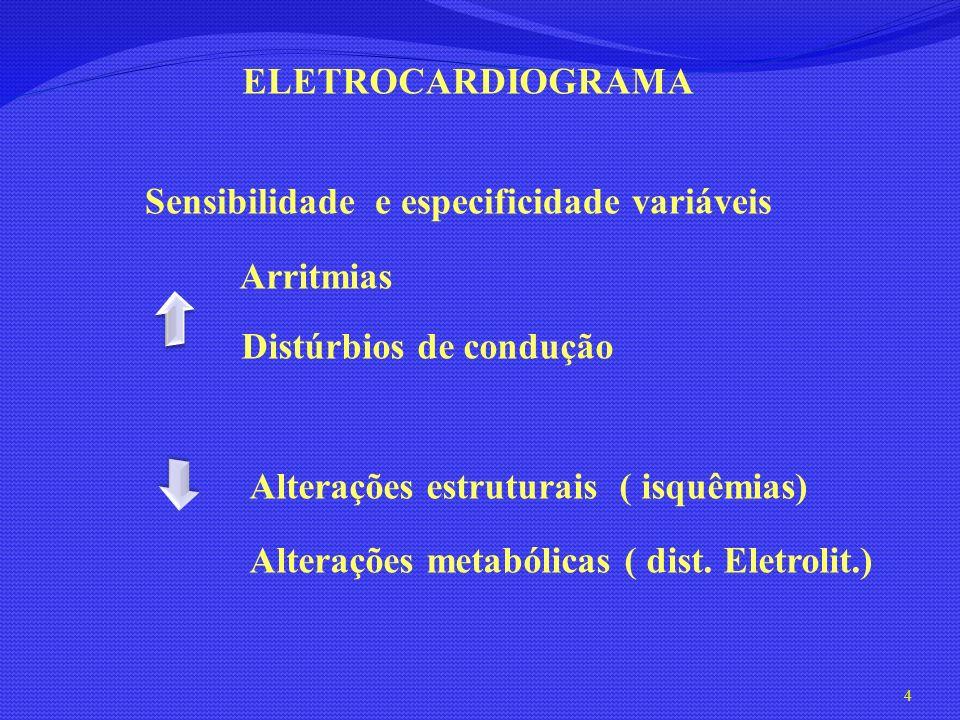 Sensibilidade e especificidade variáveis Arritmias Distúrbios de condução ELETROCARDIOGRAMA Alterações estruturais ( isquêmias) Alterações metabólicas