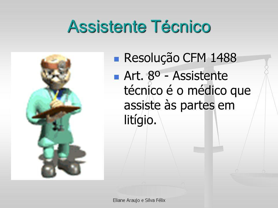 Assistente Técnico Resolução CFM 1488 Resolução CFM 1488 Art. 8º - Assistente técnico é o médico que assiste às partes em litígio. Art. 8º - Assistent