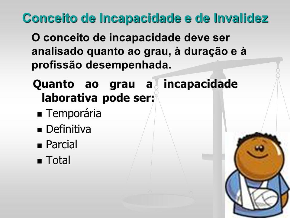 Conceito de Incapacidade e de Invalidez Quanto ao grau a incapacidade laborativa pode ser: Quanto ao grau a incapacidade laborativa pode ser: Temporár