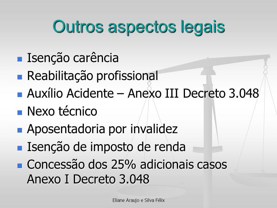 Outros aspectos legais Isenção carência Isenção carência Reabilitação profissional Reabilitação profissional Auxílio Acidente – Anexo III Decreto 3.04