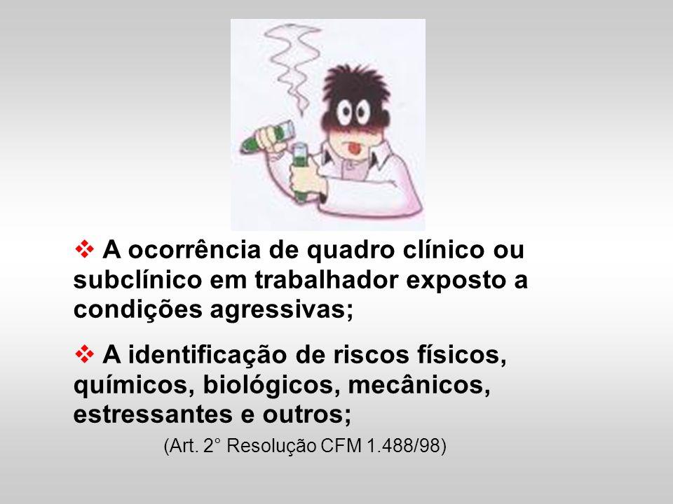 A ocorrência de quadro clínico ou subclínico em trabalhador exposto a condições agressivas; A identificação de riscos físicos, químicos, biológicos, m
