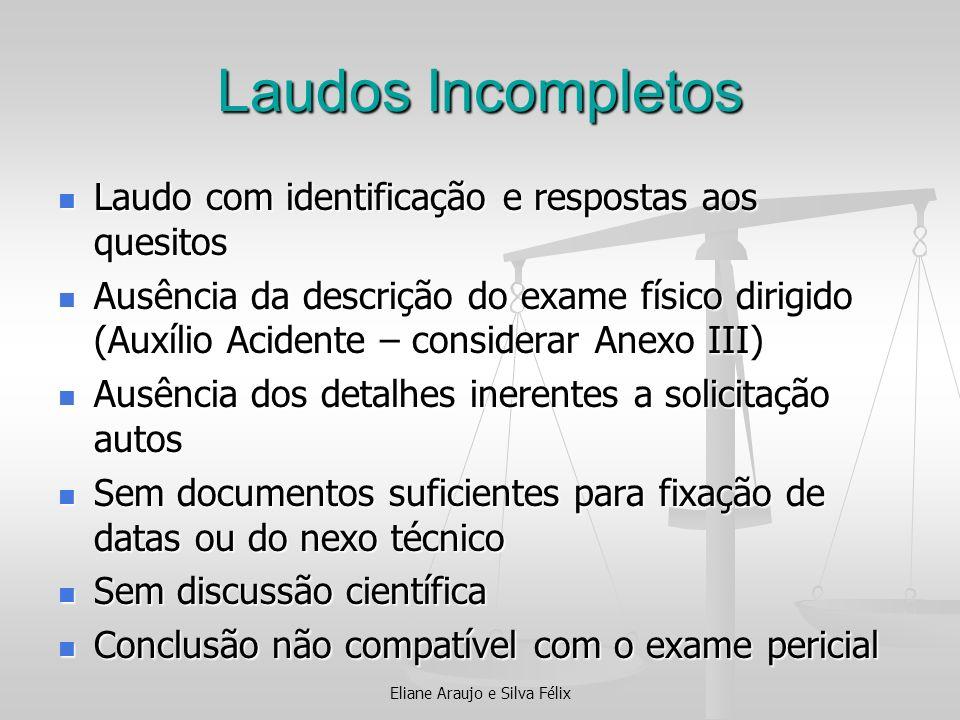 Laudos Incompletos Laudo com identificação e respostas aos quesitos Laudo com identificação e respostas aos quesitos Ausência da descrição do exame fí