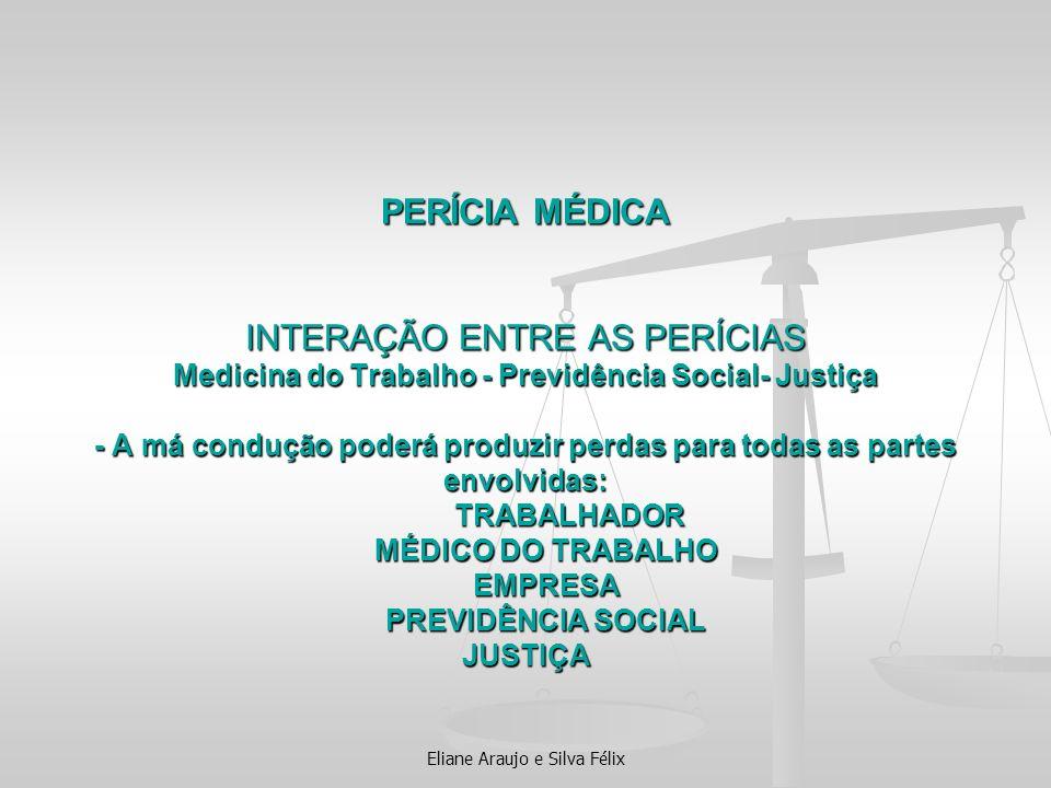 PERÍCIA MÉDICA INTERAÇÃO ENTRE AS PERÍCIAS Medicina do Trabalho - Previdência Social- Justiça - A má condução poderá produzir perdas para todas as par