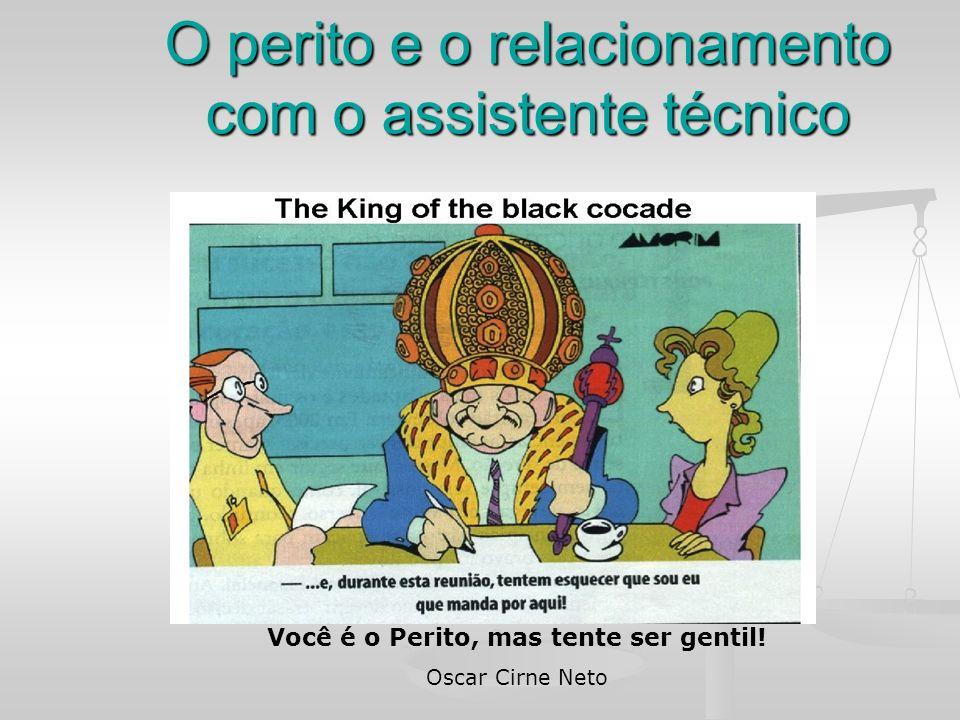 O perito e o relacionamento com o assistente técnico Você é o Perito, mas tente ser gentil! Oscar Cirne Neto