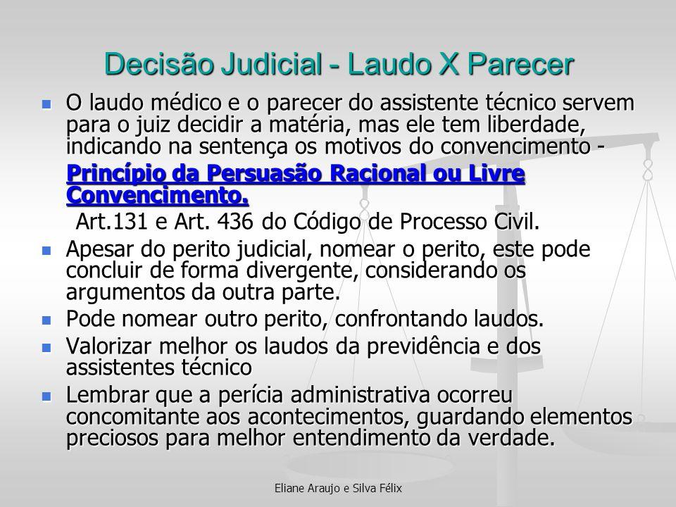 Eliane Araujo e Silva Félix Decisão Judicial - Laudo X Parecer O laudo médico e o parecer do assistente técnico servem para o juiz decidir a matéria,