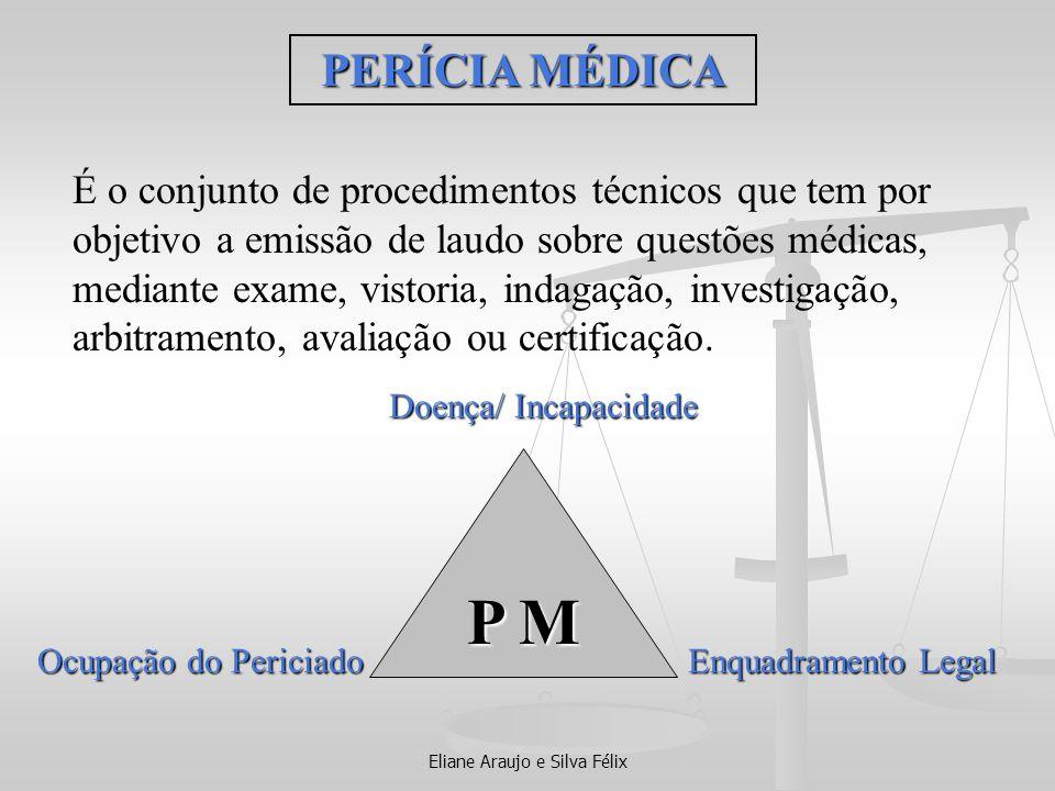 Eliane Araujo e Silva Félix É o conjunto de procedimentos técnicos que tem por objetivo a emissão de laudo sobre questões médicas, mediante exame, vis