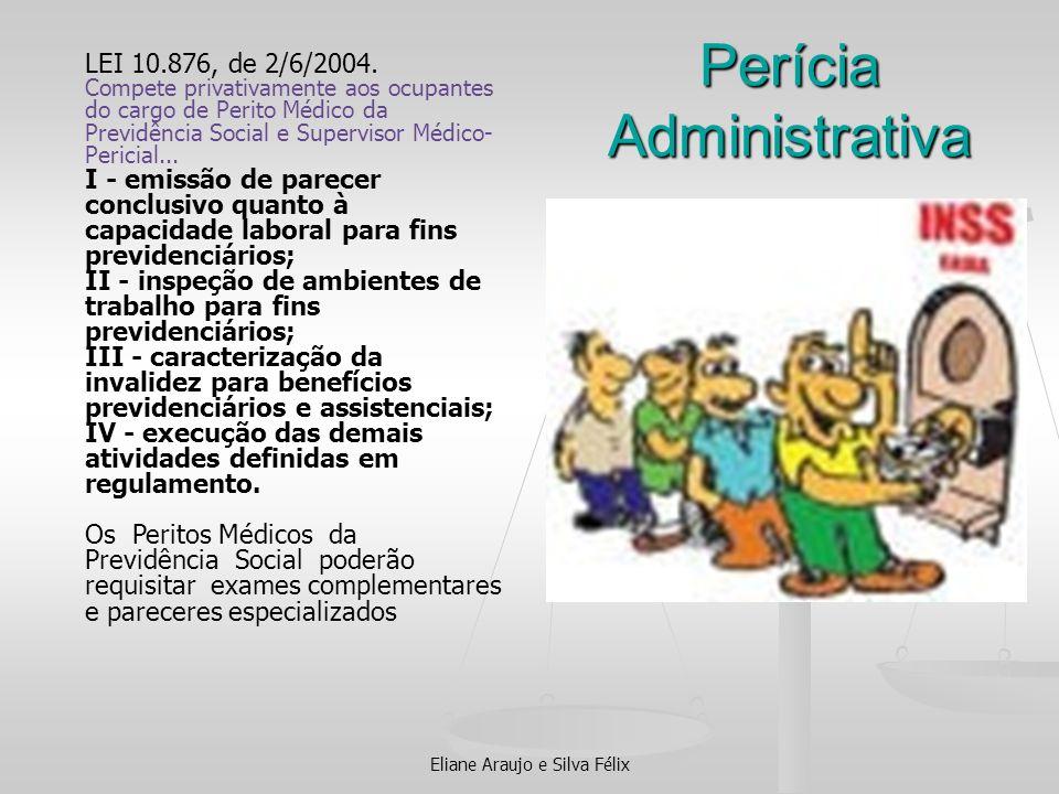 Perícia Administrativa Eliane Araujo e Silva Félix LEI 10.876, de 2/6/2004. Compete privativamente aos ocupantes do cargo de Perito Médico da Previdên
