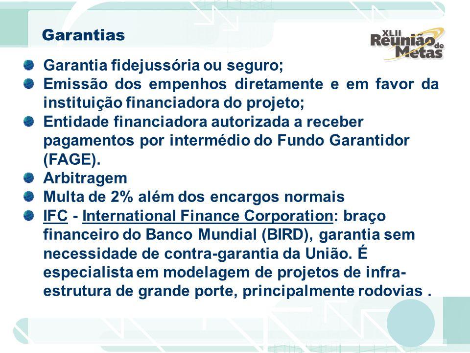 Garantia fidejussória ou seguro; Emissão dos empenhos diretamente e em favor da instituição financiadora do projeto; Entidade financiadora autorizada