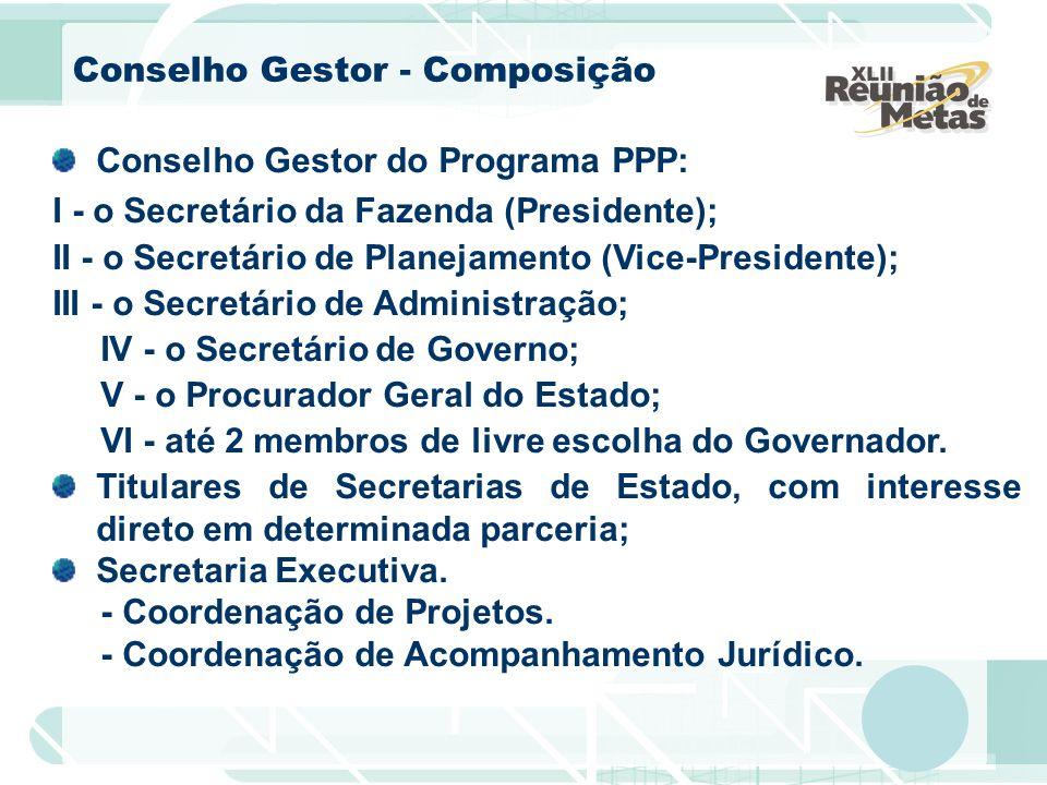 Conselho Gestor - Composição Conselho Gestor do Programa PPP: I - o Secretário da Fazenda (Presidente); II - o Secretário de Planejamento (Vice-Presid