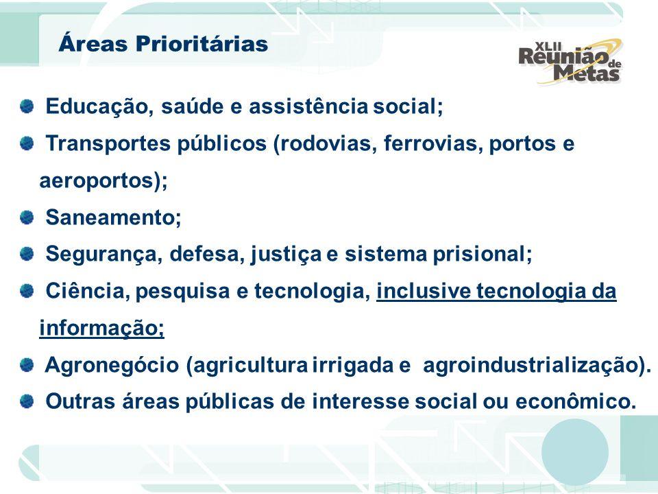 Áreas Prioritárias Educação, saúde e assistência social; Transportes públicos (rodovias, ferrovias, portos e aeroportos); Saneamento; Segurança, defes