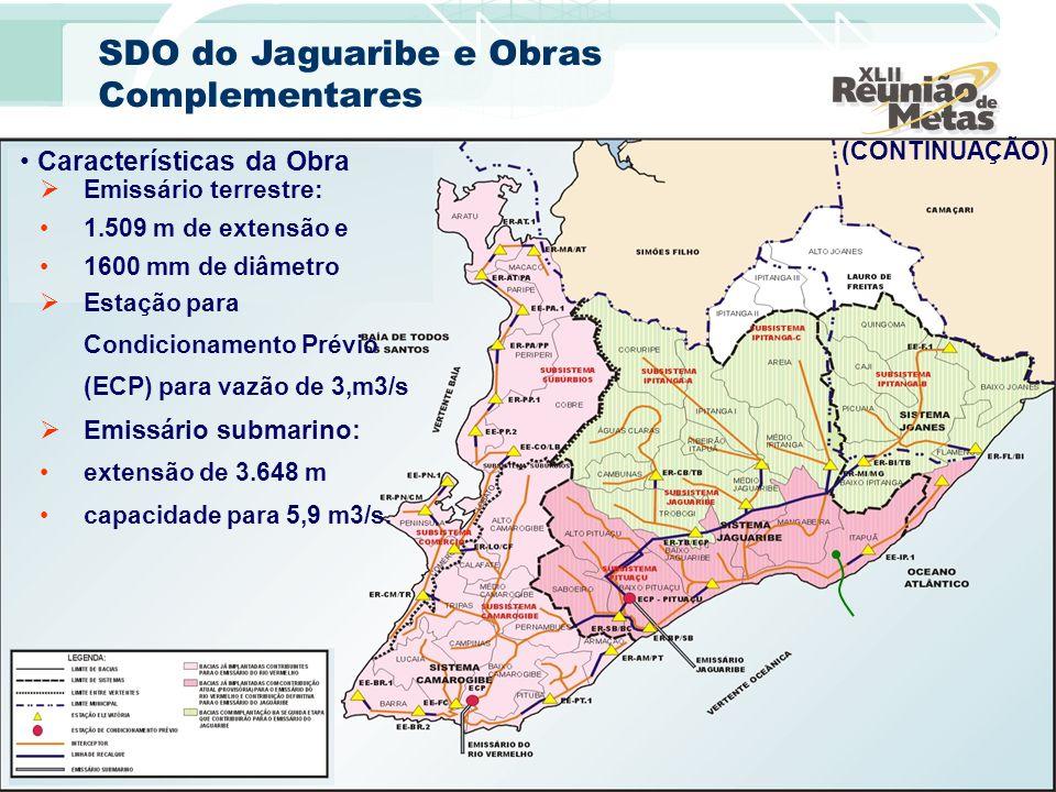 Características da Obra Emissário terrestre: 1.509 m de extensão e 1600 mm de diâmetro (CONTINUAÇÃO) Estação para Condicionamento Prévio (ECP) para va