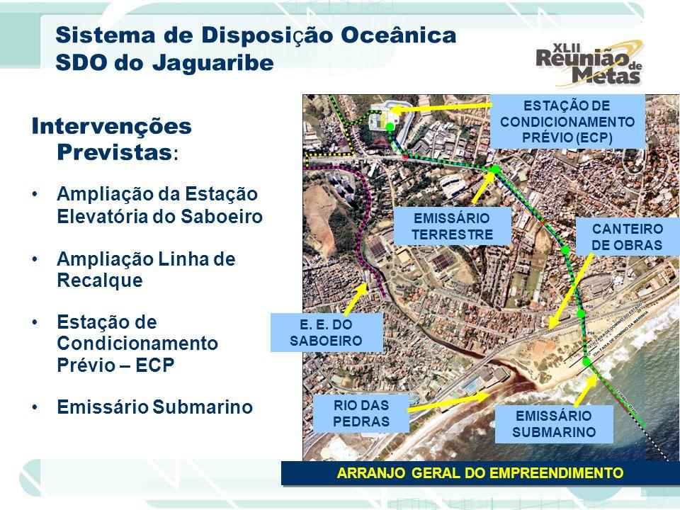 CANTEIRO DE OBRAS ESTAÇÃO DE CONDICIONAMENTO PRÉVIO (ECP) EMISSÁRIO TERRESTRE RIO DAS PEDRAS ARRANJO GERAL DO EMPREENDIMENTO Intervenções Previstas :