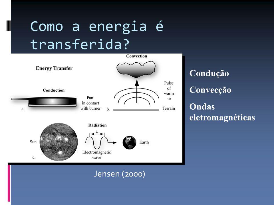 Como a energia é transferida? Jensen (2000) Condução Convecção Ondas eletromagnéticas