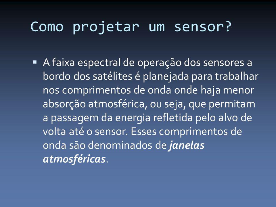 Como projetar um sensor? A faixa espectral de operação dos sensores a bordo dos satélites é planejada para trabalhar nos comprimentos de onda onde haj