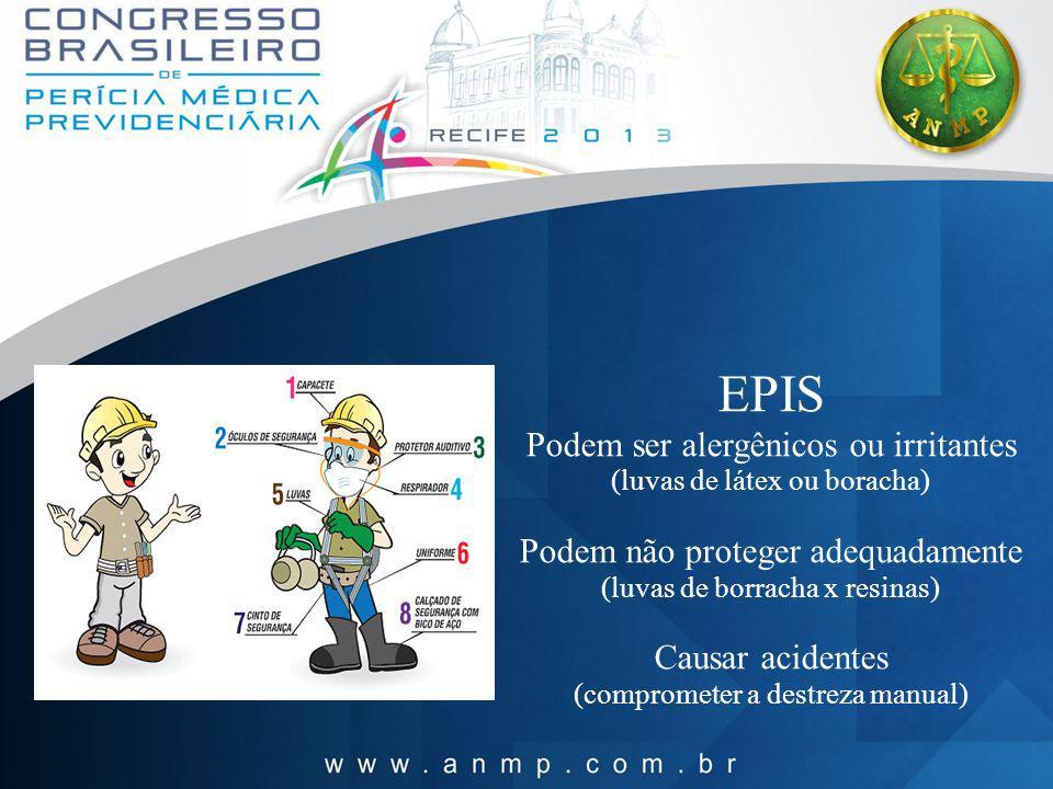 EPIS Podem ser alergênicos ou irritantes (luvas de látex ou boracha) Podem não proteger adequadamente (luvas de borracha x resinas) Causar acidentes (