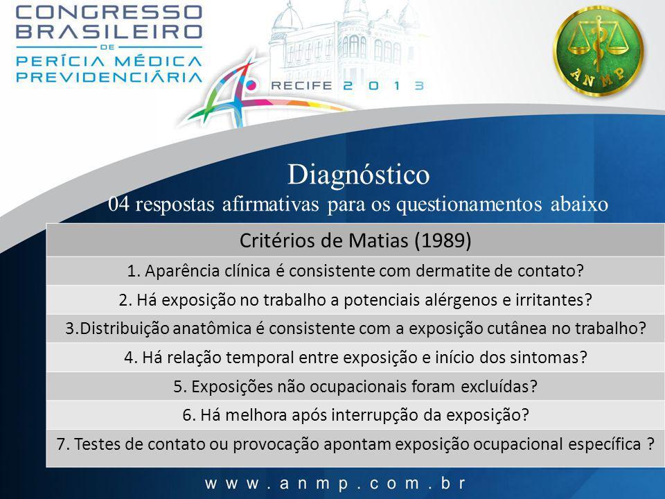 Diagnóstico 04 respostas afirmativas para os questionamentos abaixo Critérios de Matias (1989) 1. Aparência clínica é consistente com dermatite de con