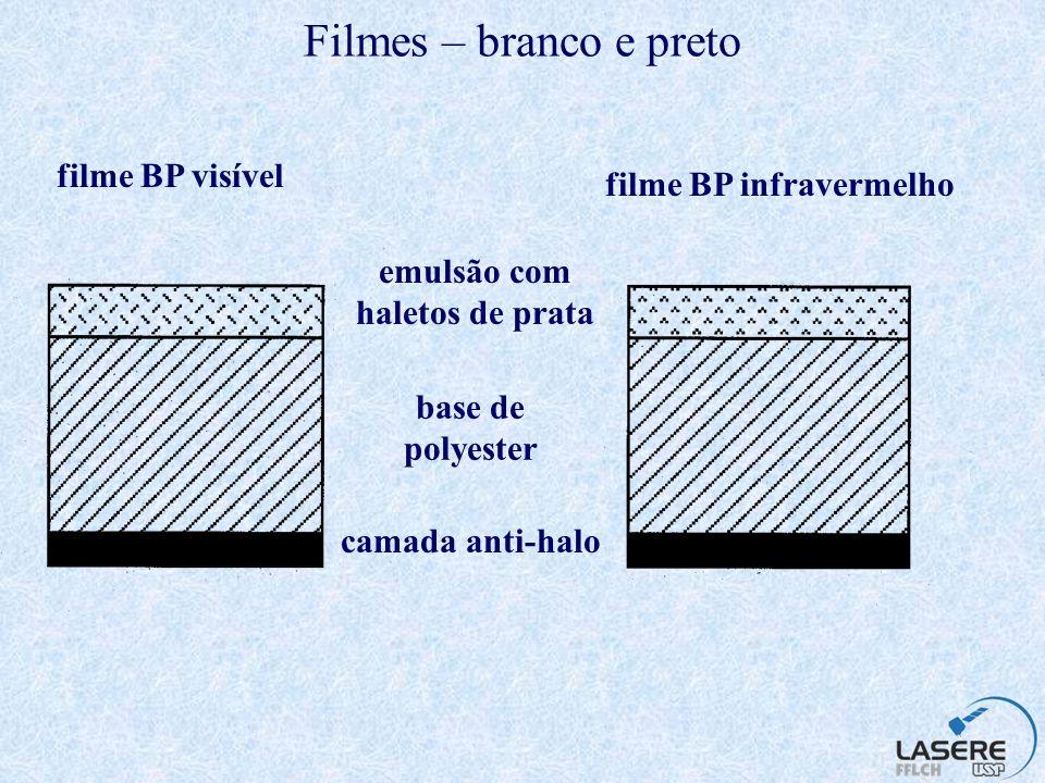 Filme colorido infravermelho - sensibilidade camada sensível ao vermelho camada sensível ao verde camada sensível ao infravermelho Log sensibilidade 0,40,50,60,70,80,9 m
