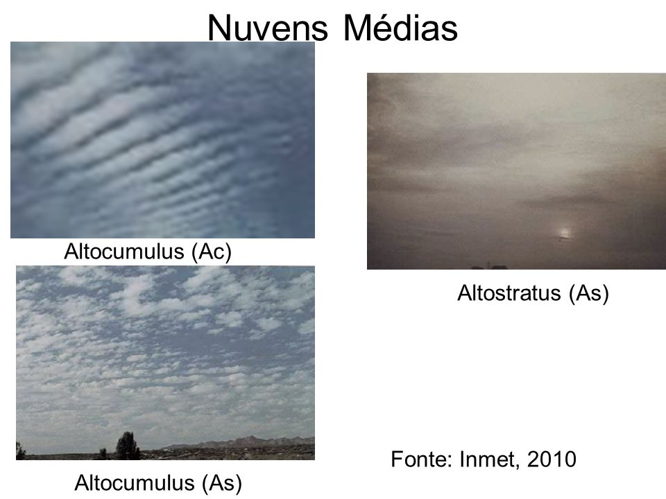 Nuvens Médias Altocumulus (Ac) Altostratus (As) Fonte: Inmet, 2010 Altocumulus (As)