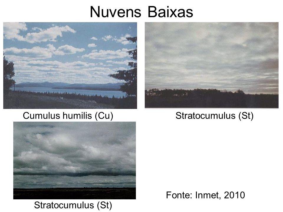 Nuvens Baixas Cumulus humilis (Cu)Stratocumulus (St) Fonte: Inmet, 2010 Stratocumulus (St)