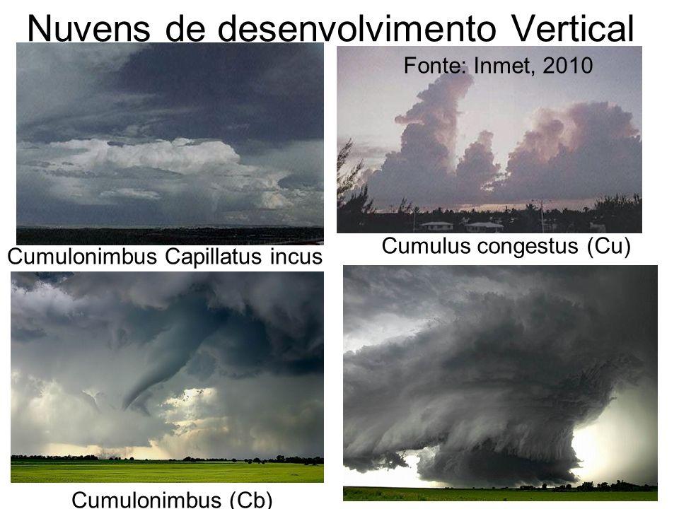 Nuvens de desenvolvimento Vertical Cumulonimbus Capillatus incus Cumulus congestus (Cu) Fonte: Inmet, 2010 Cumulonimbus (Cb)