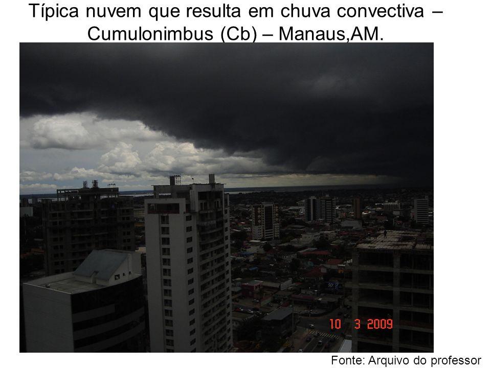 Típica nuvem que resulta em chuva convectiva – Cumulonimbus (Cb) – Manaus,AM. Fonte: Arquivo do professor